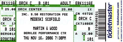 MSMW 2006-11-16 ticket stub