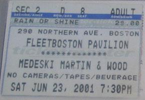 MMW ticket stub 2001-06-23