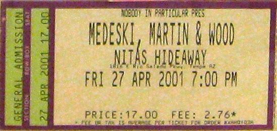 MMW ticket stub 2001-04-27