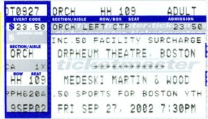MMW 2002-09-27 ticket stub